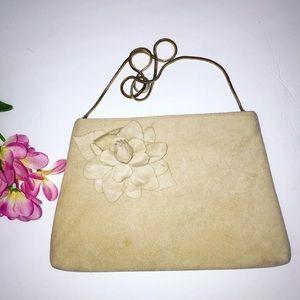Vintage 70's studio 54 cream floral ultrasuede bag